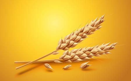 Het natuurlijke ingrediëntenelement, sluit omhoog bekijken tarwe op gele achtergrond in 3d illustratie wordt geïsoleerd die