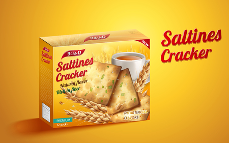 Saltines cracker package design, tasty saltines paper package design isolated on yellow background in 3d illustration