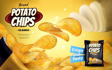 ポテトチップ広告クラシック風味チップ 3 d 図で黄色のハーフトーンの背景に分離されたホイル袋から飛んでアウト  イラスト・ベクター素材