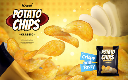 Potato chip ads, classic flavour chips flying out from foil bag isolated on yellow halftone background in 3d illustration