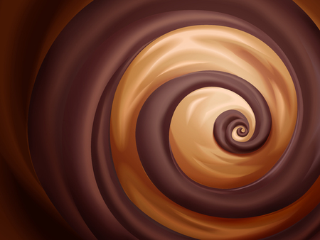 Chocolate and caramel sauce background for design uses Stock Illustratie