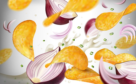 Potato chip background, tasty seasoned chips flying in the air with purple onions and yogurt in 3d illustration