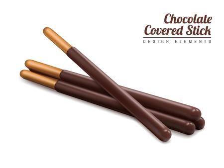 3 d イラストレーションで白い背景に分離されたチョコレート覆われた棒要素、チョコレート棒