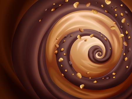 アーモンド クラッシュ背景デザイン用のチョコレートとキャラメル ソース