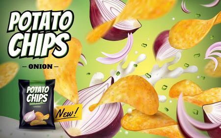 ポテトチップ広告、紫玉ねぎとヨーグルト 3 d の図の緑の背景に分離された空気中の飛行のおいしい味付けチップ