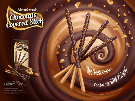 Chocolate covered stick ads, chocolate stick with almond crush isolated on swirling rich sauce in 3d illustration Ilustração