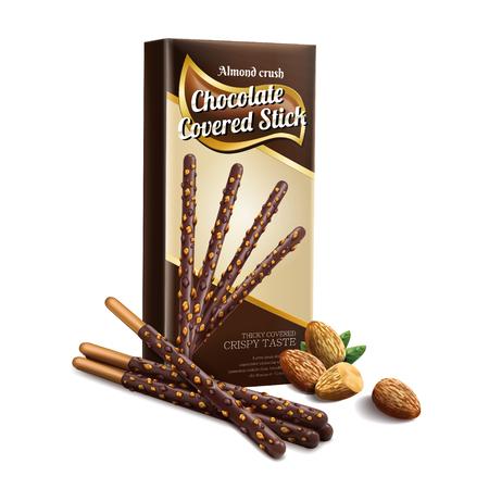 초콜릿 덮여 스틱 요소, 아몬드 호감과 흰색 배경에 고립 된 종이 상자 디자인과 초콜릿 스틱 3d 일러스트
