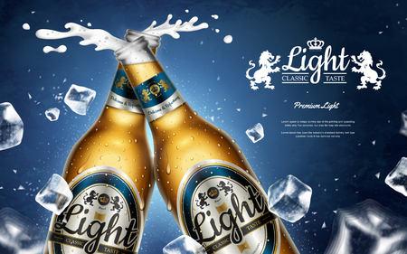 Chilling light beer ads, premium beer in glass bottles with falling ice cubes in 3d illustration