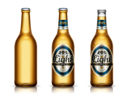 Het mockup van het lichte biermalplaatje, pakketontwerp en lege flessen in 3d illustratie, die op witte achtergrond wordt geïsoleerd