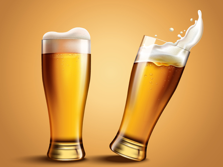 Glass beer cup with splashing beer, attractive beer mockup in 3d template