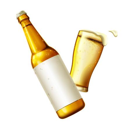Verfrissende lagerbierbier, de kop van de glasbier en flessenelementen met lege die etiketten op wit in 3d illustratie worden geïsoleerd