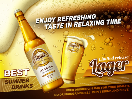 Refreshing lager beer ads, best summer drink ads with glass beer cup and bottle isolated on fizzy beer background in 3d illustration Иллюстрация