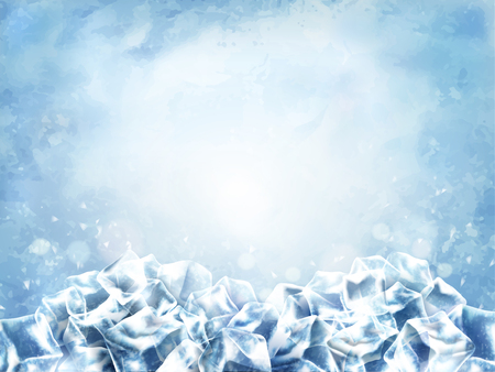 Icy cube background, abstract cubes and snow in light blue background, 3d illustration