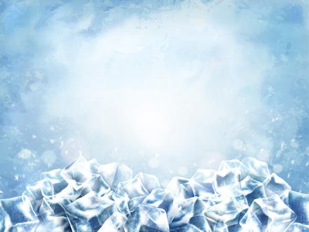 Fondo ghiacciato del cubo, cubi astratti e neve nel fondo blu-chiaro, illustrazione 3d