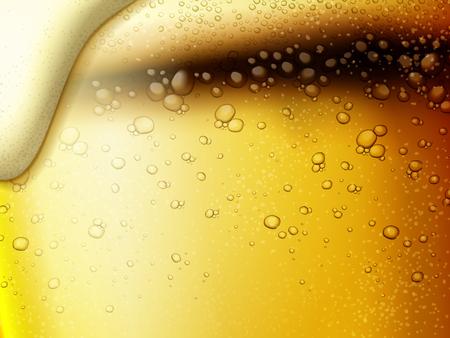 상쾌한 탄산 맥주 배경, 매우 가까이 황금 색상 맥주와 거품에 3d 그림 일러스트