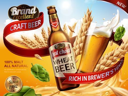 Het bieradvertenties van de tarwe, bierfles en glas met bespattend bier en ingrediënten in de lucht, 3d illustratie