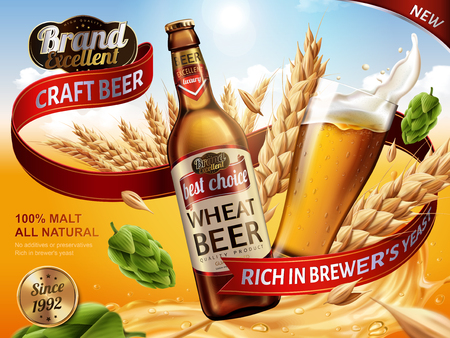 Wheat beer ads, beer bottle and glass with splashing beer and ingredients in the air, 3d illustration