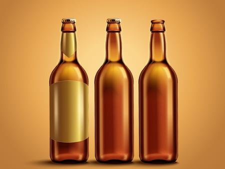빈 맥주 또는 음료 병, 3d 그림에서 유리 병 모형 템플릿