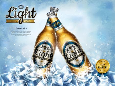Anuncios escalofriantes de cerveza ligera, cerveza premium en botellas de vidrio en cubitos de hielo en ilustración 3d