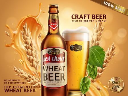 Tarwe bier advertenties, bierfles en glas met aantrekkelijk bier en ingrediënten achter hen, 3d illustratie op glitter bokeh achtergrond