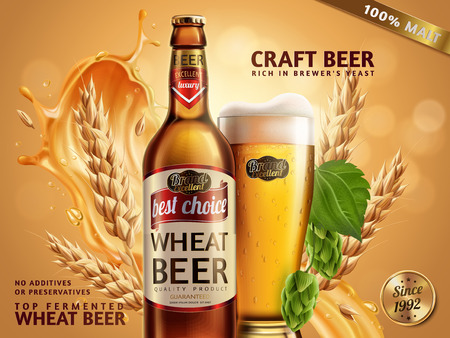 Wheat beer ads, beer bottle and glass with attractive beer and ingredients behind them, 3d illustration on glitter bokeh background Stock Vector - 83532547