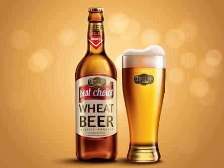 小麦ビールのパッケージ デザイン、ガラス瓶と魅力的なビール、キラキラ背景のボケ味の 3 d 図とカップ  イラスト・ベクター素材