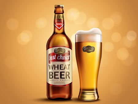 Wheat beer package design, glass bottle and cup with attractive beer, 3d illustration on glitter bokeh background