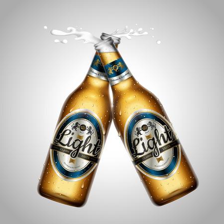 Light beer package design mockup, two bottles with splash beer in 3d illustration, isolated on grey background Иллюстрация