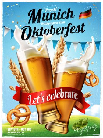 Oktoberfest-festivalaffiche met bespattend bier met pretzel en wheats.