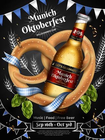 Adorable Oktoberfest-advertenties met een flesje bier met krakeling en hop. Stockfoto - 84510209