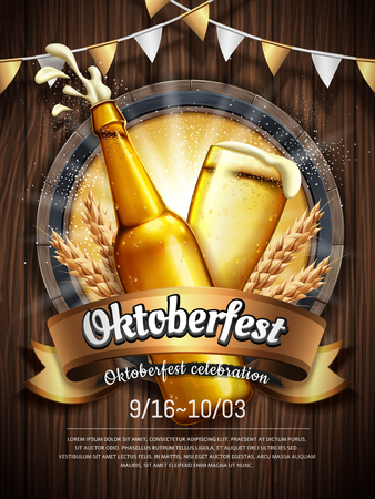 Oktoberfest beer festival poster with refreshing beverage isolated on wooden plank. 일러스트
