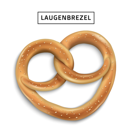 Pretzel snack element, realistic tasty traditional bread or cookie in 3d illustration, isolated on white background, laugenbrezel means traditional German pretzels Ilustração