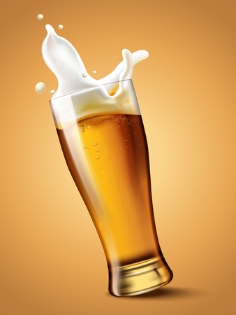 Beer in glass cup, refreshing drink with white foam in 3d illustration, splashing beer