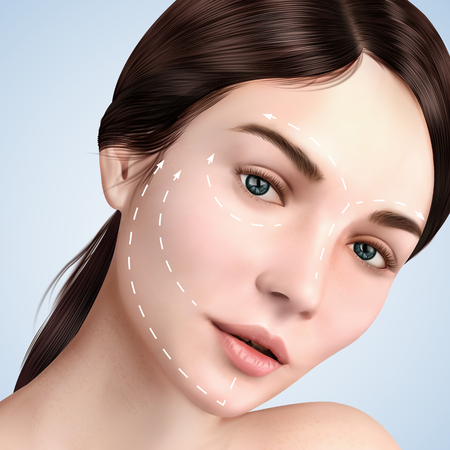 Closeup look at beautiful model, skin lifting effect with white arrows on face for cosmetic or medical procedures, 3d illustration