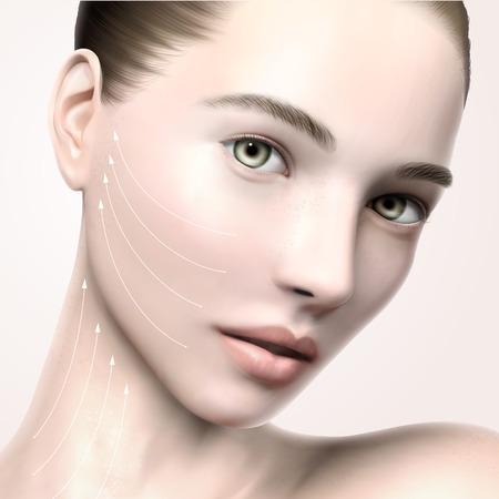 아름 다운 모델 얼굴 초상화, 3d 일러스트 레이 션 모델 스킨 케어 또는 의료 광고에 대 한 리프팅 화살표 라인 모델