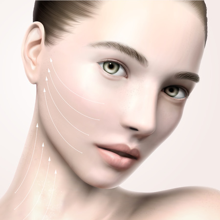 Beautiful model face portrait, 3d illustration model for skin care or medical ads uses, with lifting arrows line Ilustracja