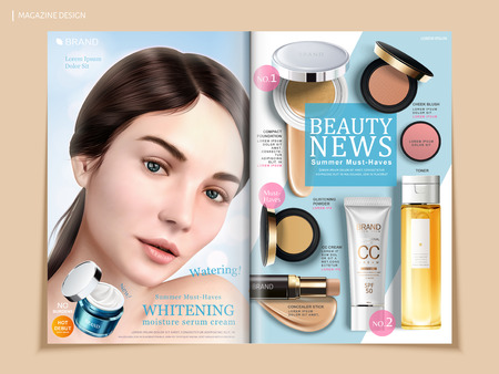 Refreshing cosmetic brochure design, skincare and makeup products on magazine or catalog for design uses, beautiful model with cream jar in 3d illustration Ilustração