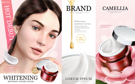 Whitening moisture ads, charming models with cream texture product, 3d illustration