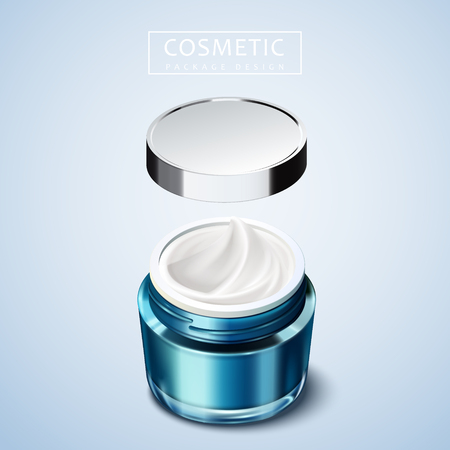 Blank cosmetic package design, blue container mockup in 3d illustration, floating lid
