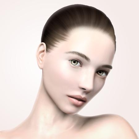 美しいモデルの顔の肖像画、3 d イラスト モデル スキンケアや医療関係の広告を使用してください。