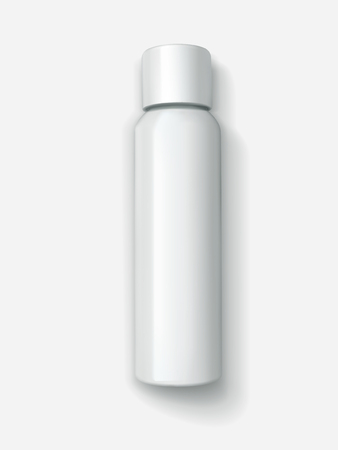 Blank cosmetic container mockup, top view of 3d illustration white spray bottle Illustration