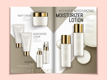 Skin care brochure template, series of pearl white cosmetic products on geometric background magazine or catalog in 3d illustration, top view of mockups