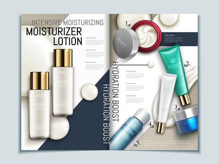 肌ケアのパンフレットの型板、幾何学的背景雑誌やカタログ 3 d 図では、モックアップとクリーム色のテクスチャ要素の平面図に化粧品のシリーズ