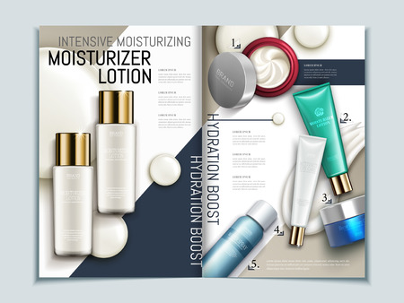 Skin care brochure template, series of cosmetic products on geometric background magazine or catalog in 3d illustration, top view of mockups and cream texture elements