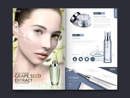3 d イラストレーションのブドウ種子エキスとスキンケア商品とモデルを魅力的な化粧品雑誌やカタログのデザイン
