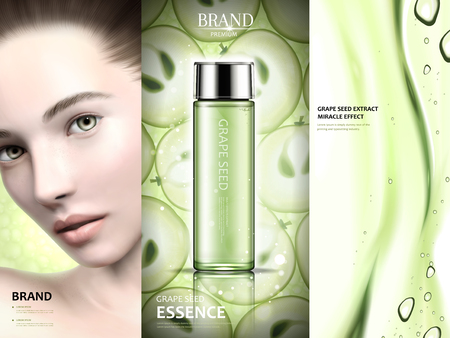 グレープ シードの広告デザイン、3 d の図では、緑のトーンでグレープ シード エッセンスとジェル テクスチャ モデルを魅力的な