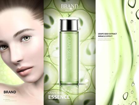 포도 종자 광고 디자인, 포도 씨앗 본질과 매력적인 모델과 젤 질감 3d 일러스트 레이션, 녹색 톤