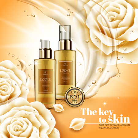 Moisturizing essence ads, hygiene product with flowing liquids and its ingredients - white rose, 3d illustration