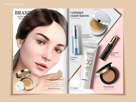 Elegant cosmetic brochure design, skincare and makeup products on geometric background magazine or catalog for design uses, beautiful model with compact foundation in 3d illustration Ilustração