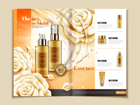 Skin care brochure template, series of skincare products on magazine or catalog for design uses in 3d illustration, white roses and flowing liquid elements